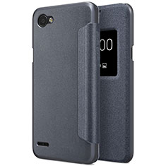 Leather Case Stands Flip Cover for LG Q6 Black