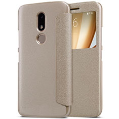 Leather Case Stands Flip Cover for Motorola Moto M XT1662 Gold