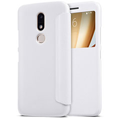 Leather Case Stands Flip Cover for Motorola Moto M XT1662 White