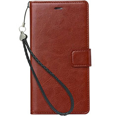 Leather Case Stands Flip Cover for Nokia 3.1 Plus Brown