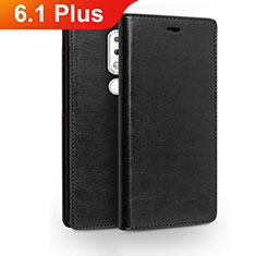 Leather Case Stands Flip Cover for Nokia 6.1 Plus Black