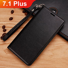 Leather Case Stands Flip Cover for Nokia 7.1 Plus Black