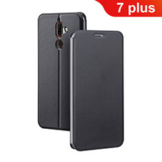 Leather Case Stands Flip Cover for Nokia 7 Plus Black