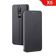 Leather Case Stands Flip Cover for Nokia X5 Black