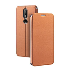 Leather Case Stands Flip Cover for Nokia X5 Brown