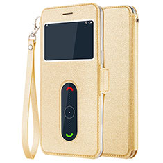 Leather Case Stands Flip Cover for OnePlus 5 Gold