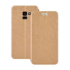 Leather Case Stands Flip Cover for Samsung Galaxy A5 (2018) A530F Gold