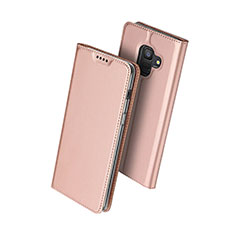 Leather Case Stands Flip Cover for Samsung Galaxy A6 (2018) Dual SIM Rose Gold