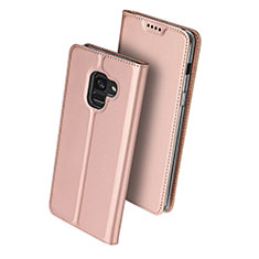 Leather Case Stands Flip Cover for Samsung Galaxy A8 (2018) Duos A530F Rose Gold