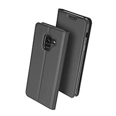 Leather Case Stands Flip Cover for Samsung Galaxy A8+ A8 Plus (2018) Duos A730F Black