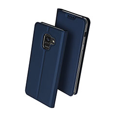 Leather Case Stands Flip Cover for Samsung Galaxy A8+ A8 Plus (2018) Duos A730F Blue