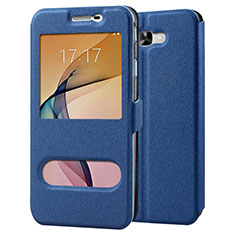 Leather Case Stands Flip Cover for Samsung Galaxy J7 Prime Blue