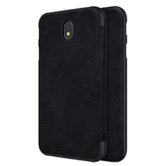 Leather Case Stands Flip Cover for Samsung Galaxy J7 Pro Black