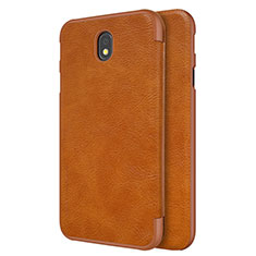 Leather Case Stands Flip Cover for Samsung Galaxy J7 Pro Brown