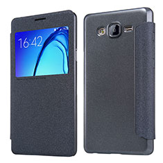 Leather Case Stands Flip Cover for Samsung Galaxy On5 Pro Black
