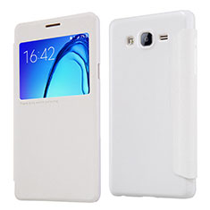 Leather Case Stands Flip Cover for Samsung Galaxy On5 Pro White