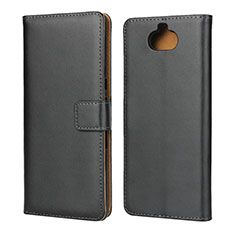 Leather Case Stands Flip Cover for Sony Xperia 10 Plus Black