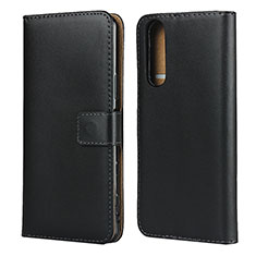 Leather Case Stands Flip Cover for Sony Xperia 5 II Black