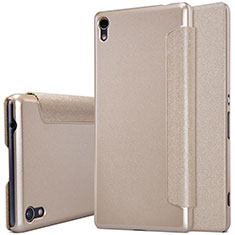 Leather Case Stands Flip Cover for Sony Xperia XA Ultra Gold