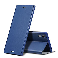 Leather Case Stands Flip Cover for Sony Xperia XZ Blue