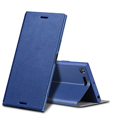 Leather Case Stands Flip Cover for Sony Xperia XZ Premium Blue