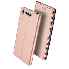 Leather Case Stands Flip Cover for Sony Xperia XZ1 Compact Rose Gold