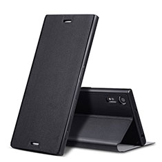 Leather Case Stands Flip Cover for Sony Xperia XZs Black