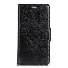 Leather Case Stands Flip Cover Holder for Alcatel 1 Black