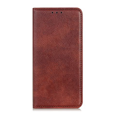 Leather Case Stands Flip Cover Holder for Alcatel 1S (2019) Brown