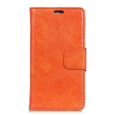 Leather Case Stands Flip Cover Holder for Alcatel 3 Orange