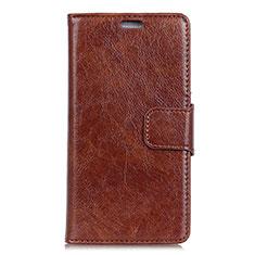 Leather Case Stands Flip Cover Holder for Alcatel 3V Brown