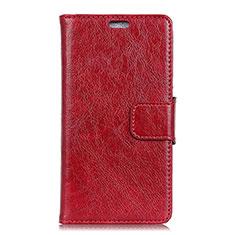Leather Case Stands Flip Cover Holder for Alcatel 3V Red