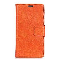 Leather Case Stands Flip Cover Holder for Alcatel 5V Orange