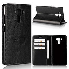 Leather Case Stands Flip Cover Holder for Asus Zenfone 3 Laser Black