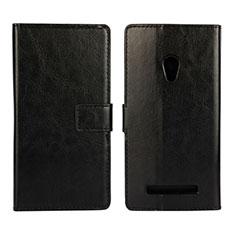 Leather Case Stands Flip Cover Holder for Asus Zenfone 5 Black