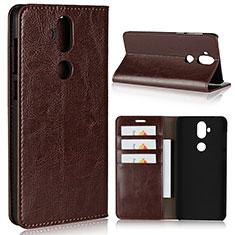 Leather Case Stands Flip Cover Holder for Asus Zenfone 5 Lite ZC600KL Brown