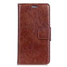 Leather Case Stands Flip Cover Holder for Asus Zenfone 5 ZE620KL Brown