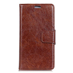 Leather Case Stands Flip Cover Holder for Asus Zenfone 5 ZS620KL Brown