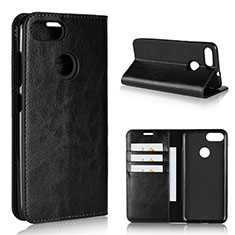 Leather Case Stands Flip Cover Holder for Asus Zenfone Max Plus M1 ZB570TL Black