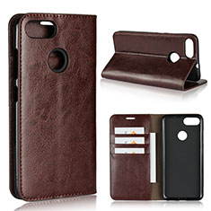 Leather Case Stands Flip Cover Holder for Asus Zenfone Max Plus M1 ZB570TL Brown