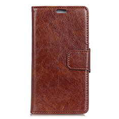 Leather Case Stands Flip Cover Holder for Asus Zenfone Max ZB555KL Brown