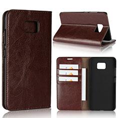 Leather Case Stands Flip Cover Holder for Asus ZenFone V V520KL Brown
