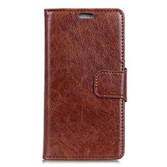 Leather Case Stands Flip Cover Holder for Asus ZenFone V500KL Brown