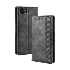 Leather Case Stands Flip Cover Holder for Blackberry KEYone Black