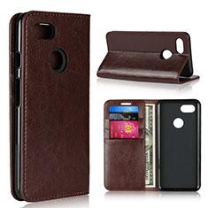 Leather Case Stands Flip Cover Holder for Google Pixel 3 Brown