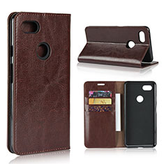 Leather Case Stands Flip Cover Holder for Google Pixel 3 XL Brown