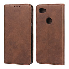 Leather Case Stands Flip Cover Holder for Google Pixel 3a Brown