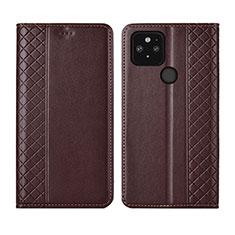 Leather Case Stands Flip Cover Holder for Google Pixel 5 Brown