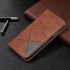 Leather Case Stands Flip Cover Holder for Google Pixel 5 XL 5G Brown