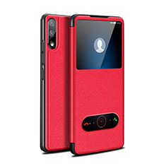 Leather Case Stands Flip Cover Holder for Huawei Enjoy 10 Red
